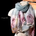 """""""Rózsasál"""" (halvány türkiz hernyóselyem sál, rózsákkal, csipkével) - Aranypántlika, Ruha, divat, cipő, Kendő, sál, sapka, kesztyű, Sál, Női ruha, Varrás, A 15000 Ft feletti ingyen postázás nem vonatkozik minden termékre!!! Kérlek olvasd el ezzel kapcsol..., Meska"""