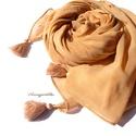 Okkerszín óriás kendő (bojtos, viszkóz muszlin), Ruha, divat, cipő, Kendő, sál, sapka, kesztyű, Női ruha, Kendő, A 15000 Ft feletti ingyen postázás nem vonatkozik minden termékre!!! Kérlek olvasd el ezzel kapc..., Meska