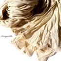 Krémsárga csíkos-csipkés sál/stóla (gyűrt muszlin), Ruha, divat, cipő, Kendő, sál, sapka, kesztyű, Sál, Női ruha, Varrás, A 15000 Ft feletti ingyen postázás nem vonatkozik minden termékre!!! Kérlek olvasd el ezzel kapcsol..., Meska