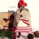 KIÁRUSÍTÁS: Hóemberkés mikulás zsák, Dekoráció, Karácsonyi, adventi apróságok, Ünnepi dekoráció, Ajándékzsák, Eredeti ár: 1490 Ft Olvasd el a kiárusításra vonatkozó feltételeket!!!!!!  Drapp, piros és piros min..., Meska