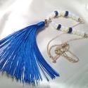 Hosszú bojtos királykék nyaklánc - AKCIÓ! -30%, Ékszer, Nyaklánc, A kék szín ezen árnyalata alapból is fenséges, elegánsan elbűvölő, a nyaklánc maga elsőso..., Meska