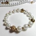 Shell pearl (kagylógyöngy) karkötő óarany hematittal és shamballa gyönggyel, Ékszer, Karkötő, Valódi 10mm-es shell pearl gyöngy (nem tekla) és sötét arany, szintén 10mm-es szintetikus hema..., Meska