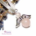 Angyal medál rózsaszín rózsakvarc ásvánnyal, Ékszer, Medál, Ékszerkészítés, Angyali érintés, mely szeretetet, kedvességet visz a mindennapokba... Az angyal medál 1cm-es és 6mm..., Meska