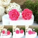 Sötétrózsa rózsás antiallergén nemesacél acél fülbevaló tavaszi nyári ajándék nőnek lánynak hétköznapra esküvőre, 14 mm-es, szépen megmunkált műgyanta rózsábó...