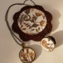 Barna virágos szett, Ékszer, óra, Bross, kitűző, Nyaklánc, Ékszerszett, Számomra kedves barna virágos  anyagomat használtam fel ezen szett elkészítéséhez: tartalmaz egy üve..., Meska