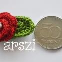 Kicsi rózsás kokárda is lehet 2., Pamutfonalból  horgolt virág  kokárda színeibe...