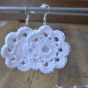Fehér horgolt fülbevaló, Pamut fonalól horgolt fülbevaló szép virág fo...