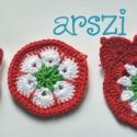 Virágos kokárda kitűző msrebarbara részére, Pamutfonalból készült  horgolt virág,kitűző ...