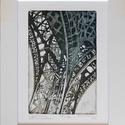 Eiffel-torony (Párizsi emlék 1.) - Mészáros Marianna, Képzőművészet, Grafika, Karc, Fotó, grafika, rajz, illusztráció, Méret: 15×10 cm-es rézkarc papírra nyomtatva, 24×18 cm-es paszpartúban (ilyen méretú keretek kapgat..., Meska