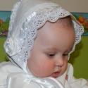Vintage keresztelő főkötő - édes egyedi textil baba főkötő fotózási kellék, Baba-mama-gyerek, Ruha, divat, cipő, Kendő, sál, sapka, kesztyű, Sapka, Varrás, Hagyományos anyagokból készül ez az édes textil baba főkötő 0-2 éves korig tudom elkészíteni, a kér..., Meska