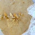 Goldenrod hajfésű - egyedi menyasszonyi fejdísz, hajdísz, Esküvő, Hajdísz, ruhadísz, Esküvői ékszer, Ékszerkészítés, Arany leveles hajdísz, menyasszonyi fejdísz a  esküvői trendeknek megfelelően.  Vintage stílusú lev..., Meska