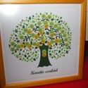EGYEDI családfa grafikai ábrázolása keretezve, Dekoráció, Képzőművészet, Kép, Grafika, Saját tervezésű digitális grafika, családfa illusztráció, minden esetben egyedi családfa adatok alap..., Meska
