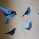Madaras mobil függődísz , Otthon, lakberendezés, Dekoráció, Ez a játékos  egyedi tervezésű mobil függődísz kartonpapírból készült, 6 db egyedi, stilizált madárf..., Meska