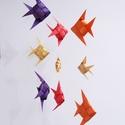 Fonott halas kör alapú mobil függődísz , Otthon & lakás, Dekoráció, Dísz, Lakberendezés, 9 darab, harmonikus szín-összeállítású, (natúr, magenta, narancs és lila) fenyő furnércsíkból font k..., Meska