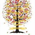 EGYEDI családfa grafikai ábrázolása, Otthon & lakás, Dekoráció, Kép, Képzőművészet, Grafika, Saját tervezésű digitális grafika, családfa illusztráció, minden esetben egyedi családfa adatok alap..., Meska