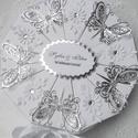 """""""Silver butterfly"""" papírtorta díszdoboz 10 szeletes, Különleges, teljesen egyedi, kézzel készült, ..."""