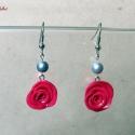 AKCIÓS! Pink rózsa ezüst gyöngyökkel, Ékszer, Fülbevaló, AKCIÓ! Most 900 Ft helyett 700 Ft-ért tied lehet ez a fülönfüggő!  Ékszergyurmából készítettem ezeke..., Meska