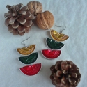 Trió kávékapszula fülbevaló - karácsonyi színekben, Kávékapszulák születtek újjá ebben a trió f...