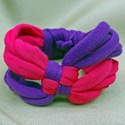 Kockás textil karkötő - pink-lila, Ékszer, Karkötő, Pólófonalból készítettem ezt a kockás karkötőt, pink és lila árnyalatokban. Játékos, vidám kiegészít..., Meska