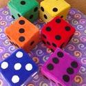 Színes dobókocka készlet, Baba-mama-gyerek, Dekoráció, Játék, Készségfejlesztő játék, Varrás, Ezek a színes dobókockák szivacsból és baby-soft plüssből változatos színekben készültek. Minden da..., Meska