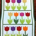 Tulipános babatakaró, Baba-mama-gyerek, Otthon, lakberendezés, Lakástextil, Takaró, ágytakaró, Varrás, Ezt a tulipán mintás babatakarót sok-sok szeretettel készítettem a leendő tulajdonosának. Patchwork..., Meska