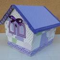 Levendula házikó a lila árnyalataival, Otthon, lakberendezés, Dekoráció, Tárolóeszköz, Doboz, Varrás, Ez a romantikus házikó dobozkartonból készült és minden darabja (kívül-belül) textillel bevont. Egy..., Meska