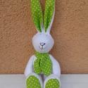 Húsvéti nyuszi, nyúl zöld pöttyös fülekkel, Baba-mama-gyerek, Dekoráció, Játék, Húsvéti apróságok, Varrás, Valódi zöldfülű nyuszi született apró műhelyemben :)  Meleg, fehér thermo anyagból készült és vatel..., Meska