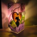 Cicák, szerelmesen, Meselámpa - a szerelmet meséli el....festett üveg hangulat lámpa , Esküvő, Otthon, lakberendezés, Lámpa, Üvegművészet, Festészet, Cicák szerelmesen, Meselámpa - a szerelmet meséli el....festett üveg hangulat lámpa  --------------..., Meska