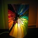"""""""Szivárvány esernyő"""" Meselámpa  - festett üveg hangulatlámpa, Otthon, lakberendezés, Lámpa, Hangulatlámpa, OIvasólámpa, Üvegművészet, Festett tárgyak, """"Szivárvány esernyő"""" Meselámpa  - festett üveg hangulatlámpa  A borongós őszi reggelek fényt és szí..., Meska"""