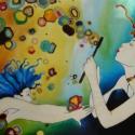Buborék tánc - festett üvegkép, üvegfestmény , Dekoráció, Otthon, lakberendezés, Kép, Falikép, Festészet, Üvegművészet, Kuriózum technikával készült 60 x 70 cm, nagy méretű egyedi üvegfestmény,  amely igazán vérbeli, kü..., Meska
