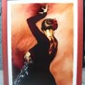 Andalúz táncos IV. - festett üvegkép, üvegfestmény , Dekoráció, Otthon, lakberendezés, Kép, Falikép, Festészet, Üvegművészet, Nagyon ütős, kuriózum technikával készült, nagy méretű 30 x 40 cm,  egyedi üvegfestmény, igazán kül..., Meska
