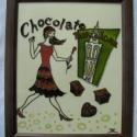 Párizsi csoki - festett üvegkép, üvegfestmény, Otthon, lakberendezés, Konyhafelszerelés, Falikép, Festészet, Üvegművészet, Párizsi csoki - festett üvegkép, üvegfestmény, Kuriózum technikával készült, izgalmas, 18  x 24  cm..., Meska