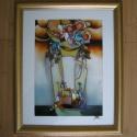 Váza - nonfiguratív üvegfestmény, Otthon, lakberendezés, Képzőművészet, Falikép, Festmény, Festészet, Üvegművészet, Váza - nonfiguratív üvegfestmény egyedi , mérete 30 x 40 cm. Színben hozzáillő, arany keretben. Ren..., Meska