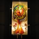 """Szeretetfa - Festett üveg falilámpa, hangulatlámpa, Otthon, lakberendezés, Lámpa, Fali-, mennyezeti lámpa, Hangulatlámpa, Festett tárgyak, Üvegművészet, 56 x 25 cm méretű, festett üveg falilámpa, a Szeretetfa asztali üveglámpa """"nagytestvére"""" (ld. utols..., Meska"""