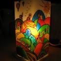 """Hőlégballon Meselámpa  - festett üveg hangulatlámpa, gyereklámpa, Baba-mama-gyerek, Otthon, lakberendezés, Gyerekszoba, Lámpa, Üvegművészet, Festett tárgyak, Hőlégballon Meselámpa  - festett üveg hangulatlámpa, gyereklámpa  """"Sihuhu-sihhuhhhu...kanyargott a ..., Meska"""