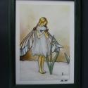 Hóvirág Tündér  - festett üveg kép, üvegfestmény , Baba-mama-gyerek, Gyerekszoba, Baba falikép, Festészet, Üvegművészet, Hóvirág Tündér  - festett üveg kép, üvegfestmény   Cicely Mary Barker illusztráció alapján készült ..., Meska