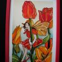 Tulipán tündér  - festett üvegkép, üvegfestmény , Otthon, lakberendezés, Falikép, Festészet, Üvegművészet, Nini! Ki kukucskál barna színű köpönyegben itt? Huncut szemében minő fény csillan?   Tulipán tündér..., Meska