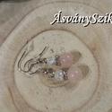 Rózsakvarc és Hegyikristály fülbevaló, Ékszer, Esküvő, Fülbevaló, Ékszerszett, A fülbevalót 6 mm-es roppantott hegyikristály és 8 mm-es rózsakvarc gömbből készítettem, köztük pedi..., Meska