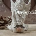 Rose gold Angyal Medál, Ékszer, Esküvő, Esküvői ékszer, Medál, Ezt a medált egy 8 mm-es rose gold cirkon gömb, egy ezüst színű angyalszárny, egy  6 mm-es roppantot..., Meska