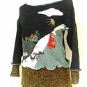 mese pulcsi, Baba-mama-gyerek, Ruha, divat, cipő, Női ruha, Felsőrész, póló, Varrás, Piroska s a farkas...mesejelenettel diszitett kotott pulcsi,modern valtozatban.. trendy viselet  me..., Meska