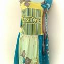 trendi mix ruha, Ruha, divat, cipő, Mindenmás, Női ruha, Furcsaságok, Festett tárgyak, Varrás, A sarga es a zold harmonikus talakozasa.. kulombozo textilbol osszevarrt ruha...megint mixeltem kic..., Meska