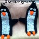 Pingvines kesztyű, Ruha, divat, cipő, Kendő, sál, sapka, kesztyű, Kesztyű, Horgolás, Aranyos pingvines kesztyű, vastag, meleg.  , Meska