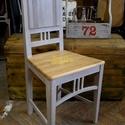 Szürke szék, rózsa mintával, Bútor, Szék, fotel, Antik paraszt széket festettem szürkére, majd az ülőlapját sárga rózsákkal díszítettem..., Meska