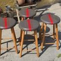 Retro , szék, hokedli, Bútor, Szék, fotel, Retro hokedlik, új ruhában. Teteje szürke színű, piros csíkokkal, majd viasszal antikoltam, lábai bú..., Meska