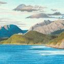 Fjord tájkép rajz, Művészet, Grafika & Illusztráció, Fotó, grafika, rajz, illusztráció, Eredeti rajzom, mely a skandináv tájak jellegzetes elemét, egy fjordot ábrázol, A4-es méretű papíro..., Meska