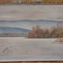 Téli Duna, rajz, Művészet, Grafika & Illusztráció, Fotó, grafika, rajz, illusztráció, Eredeti, színes ceruzával készült tájképem a téli Dunakanyarról. A3-as méret, papíron, keret nélkül..., Meska
