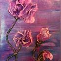 Lila Álom, Képzőművészet, Dekoráció, Napi festmény, kép, Kép, Különleges technikával készített 3D-s textil virág falikép. 20 x 34 cm méretű farostlemezre..., Meska