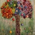 Kívánság fa, Képzőművészet, Dekoráció, Napi festmény, kép, Kép, Különleges technikával készített 3D-s textilfa falikép. A Kívánság fa gyümölcseit szárí..., Meska