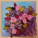 Rózsacsokor, Képzőművészet, Dekoráció, Napi festmény, kép, Kép, Újrahasznosított alapanyagból készült termékek, Szobrászat, Különleges technikával készített 3D-s textil virág falikép. 21 x 21 cm méretű feszített vászonra ké..., Meska