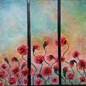 Háromrészes pipacsos, Képzőművészet, Dekoráció, Napi festmény, kép, Kép, Különleges technikával készített 3D-s textil virág falikép. 3 x (20 x 60) cm méretű feszít..., Meska